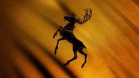 Kontur av hjortar som står på dess bakre ben som visas på bakgrund av framkallning av den guld- flaggan djur Emblem av royaltyfri illustrationer