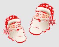 Kontur av huvudet Santa Claus vektor illustrationer