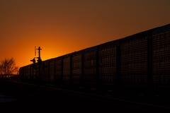 Kontur av järnväg auto bilar mot guld- solnedgång Royaltyfria Foton