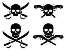 Kontur av Jolly Roger med den korsade sabeln och pistolen Vektor Illustrationer