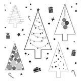 Kontur av julgranen, en modern plan design royaltyfri illustrationer