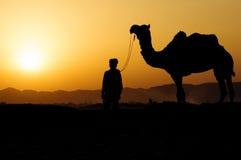 Kontur av kamelaffärsmannen som korsar sanddyn under solen Arkivfoto