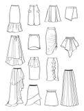 Kontur av kjolar med asymmetri och veck Royaltyfri Foto