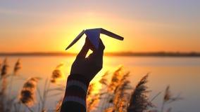Kontur av kvinnahanden som utomhus rymmer det pappers- flygplanet på bakgrund av vattensjölandskapet på solnedgången, sommarnatur stock video