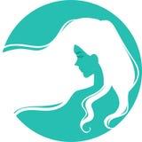 Kontur av kvinnas profil royaltyfri illustrationer