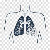 Kontur av lungsjukdomen vektor illustrationer