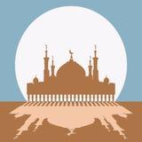 Kontur av moskén med minaret royaltyfri illustrationer