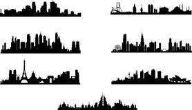 Kontur av olika städer royaltyfri illustrationer