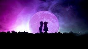 Kontur av par som kysser under fullmånen Hand för grabbkyssflicka på fullmånekonturbakgrund Begrepp för dekor för dag för valenti Fotografering för Bildbyråer