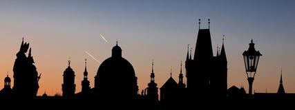 Kontur av Prague - landskapformat Royaltyfria Bilder