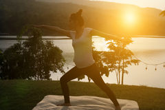 kontur av praktiserande yoga för asiatisk gravid kvinna på gröna gras Fotografering för Bildbyråer