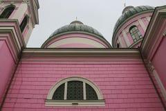 Kontur av rosa färgkyrkakyrktorn Royaltyfri Fotografi