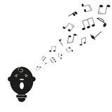 Kontur av sångaremannen med anmärkningar. royaltyfri illustrationer