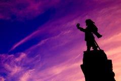 Kontur av Samuel de Champlain Landmark med rosa himmel royaltyfri bild