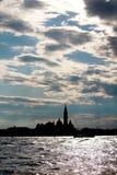 Kontur av San Giorgio Maggiore i Venedig, Italien Arkivbild