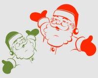 Kontur av Santa Claus c förlade händer royaltyfri illustrationer