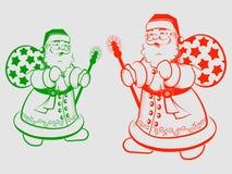 Kontur av Santa Claus med en pinne royaltyfri illustrationer