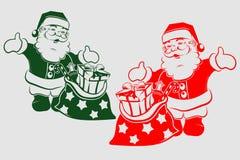 Kontur av Santa Claus med gåvor vektor illustrationer