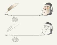 Kontur av Santa Claus med julbollar stock illustrationer