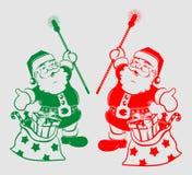 Kontur av Santa Claus med påsen vektor illustrationer