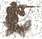 Kontur av soldaten i handling vektorillustration i grungestil 4 Arkivbilder