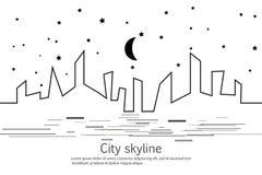 Kontur av staden och stjärnan och månen i en plan stil modernt stads- för liggande klar vektor för nedladdningillustrationbild st Royaltyfri Bild
