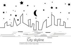 Kontur av staden och stjärnan och månen i en plan stil modernt stads- för liggande klar vektor för nedladdningillustrationbild st Arkivbilder