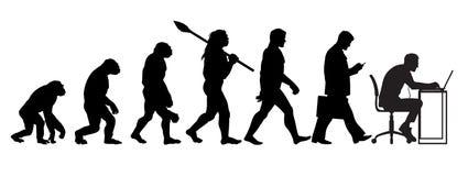 Kontur av teorin av evolution av mannen royaltyfri illustrationer