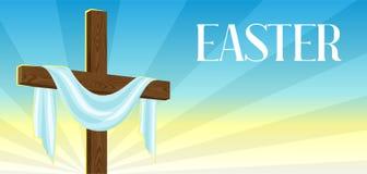 Kontur av träkorset med omslaget Lyckligt kort för för påskbegreppsillustration eller hälsning Religiöst symbol av tro vektor illustrationer