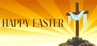 Kontur av träkorset med omslaget Lyckligt kort för för påskbegreppsillustration eller hälsning Religiöst symbol av tro stock illustrationer