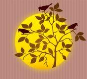 Kontur av vårträdet med råkafåglar ocks? vektor f?r coreldrawillustration stock illustrationer