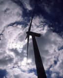 Kontur av vindturbinen Arkivfoto