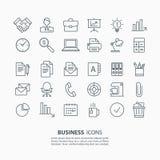 Kontur biznesowy i biurowe ikony ustawiać Zdjęcia Stock