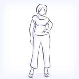 Kontur der überladenen eleganten Frau stock abbildung