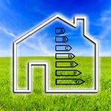 Kontur dom pokazuje wydajności energii ocenę zdjęcia stock