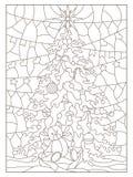 Kontur eingestellt mit Illustration eines Buntglasfensters mit einem Weihnachtsbaum und einem Spielzeugbären, dunkle Entwürfe auf lizenzfreie abbildung