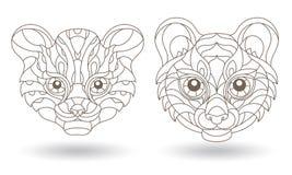 Kontur eingestellt mit Illustrationen des Buntglases Windows mit Tiger- und Leopardkopf, dunkle Konturen auf weißem Hintergrund vektor abbildung