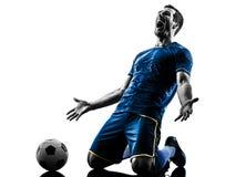 Kontur för beröm för man för fotbollspelare isolerad lycklig Arkivbilder