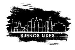 Kontur för Buenos Aires Argentina stadshorisont Hand drog Sketc vektor illustrationer