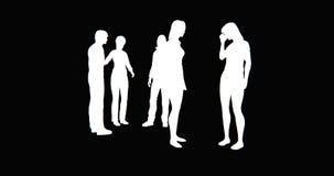 kontur för folk för affär som 4k talar eller använder mobiltelefoner arkivfilmer