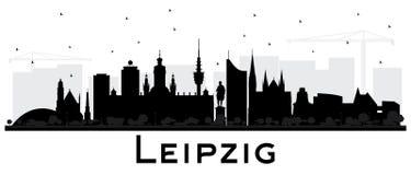 Kontur för horisont för Leipzig Tysklandstad med svart byggnadsIso stock illustrationer