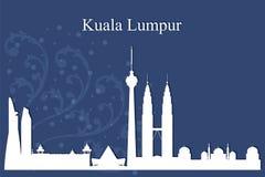 Kontur för Kuala Lumpur stadshorisont på blå bakgrund vektor illustrationer
