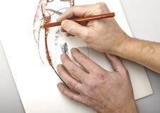 Kontur för kvinnor för abstrakt begrepp för konstnärHands teckning Arkivfoton