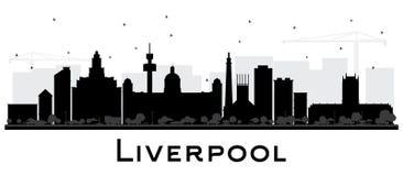 Kontur för Liverpool stadshorisont med isolerade svarta byggnader