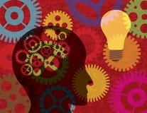 Kontur för mänskligt huvud med kugghjulbakgrund Illust Arkivfoton