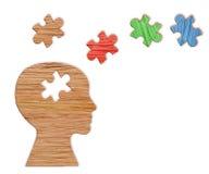 Kontur för mänskligt huvud, mental hälsasymbol Pussel arkivfoton