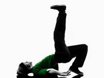 Kontur för man för ung akrobatisk avbrottsdansare breakdancing Arkivfoton