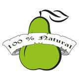 Kontur för päron för vektorillustrationgräsplan Emblem för etikett för bokstäver för ny mat för naturprodukt calligraphic Royaltyfri Fotografi