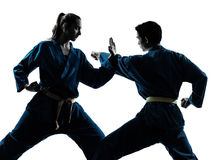 Kontur för par för kvinna för man för karatevietvodaokampsporter Fotografering för Bildbyråer