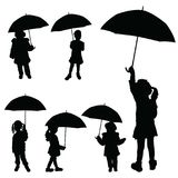 Kontur för paraply för barnflicka hållande vektor illustrationer